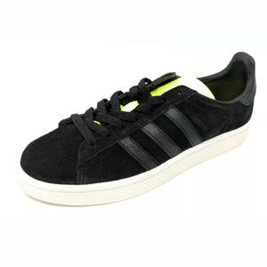 NIB. ADIDAS Campus black suede with safety yellow